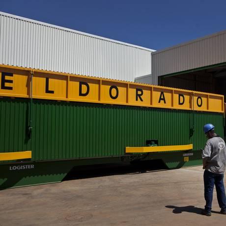 Contênier da Eldorado Celulose para transportar a matéria-prima Foto: Dado Galdieri / Bloomberg