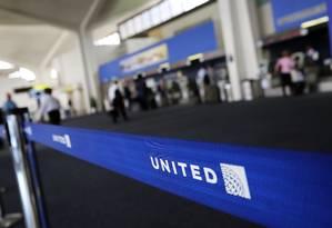Logo da United Airlines Foto: Spencer Platt / AFP