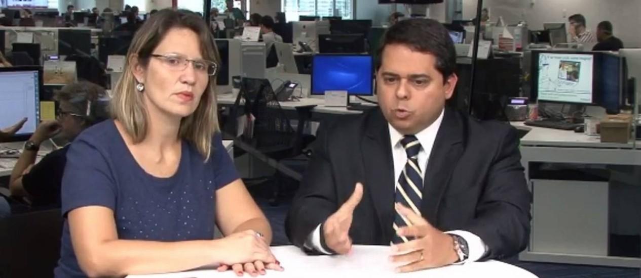 A jornalista Lucianne Carneiro conversa com especialista sobre previdência Foto: REPRODUÇÃO