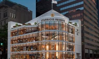 Projeto da megafilial a ser inaugurada em Chicago, daqui a dois anos Foto: Reprodução/Starbucks