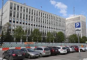 Estacionamento do ministério Interior da Rússia Cars lotado, vírus atacou computadores do governo Foto: STR / AFP