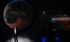 Elon Musk, diretor-executivo da SpaceX, em Congresso, no México, sobre a corrida espacial no México. Foto: Susana Gonzalez / Bloomberg/27-09-2016