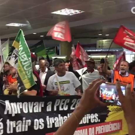 Sindicalistas fazem protesto contra a Reforma da Previdência Foto: Adriana Mendes