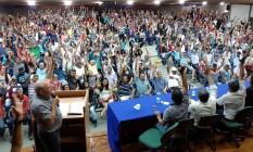 Assembleia com os metalúrgicos de SP e Mogi das Cruzes na sede da entidade, na região central da capital paulista. Foto: Agência O Globo
