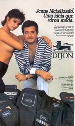 Anúncio dos anos 80 da Dijon com a modelo Luiza Brunet Foto: Reprodução
