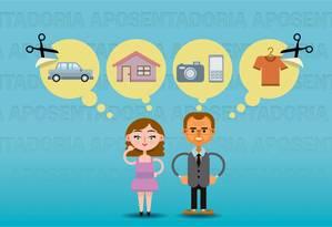 É preciso ajustar o orçamento doméstico para poupar para a aposentadoria. Foto: Editoria de Arte