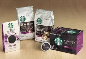 Alguns dos produtos da Starbucks que serão vendidos pela Nestlé Foto: Divulgação