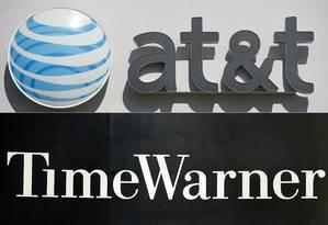 Montagem da AT&T e Time Warner Foto: AFP