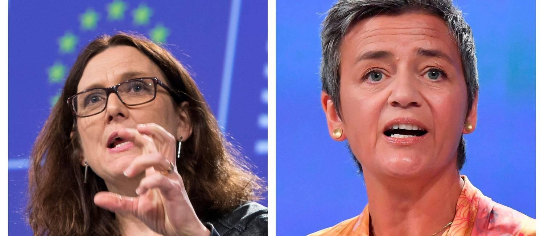 A comissária de Comércio da União Europeia, Cecilia Malmström (no alto) e a comissária de Defesa da Concorrência, Margrethe Vestager, são enfrentam grandes empresas e gigantes como os Estados Unidos. Foto: Agências internacionais