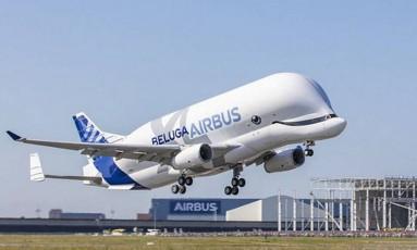 Aeronave Beluga, da Airbus, fez seu primeiro voo Foto: Divulgação