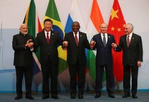 Líderes do Brics reunidos na África do Sul Foto: MIKE HUTCHINGS / AFP