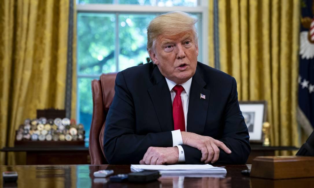 Presidente americano, Donald Trump, em entrevista nesta quinta-feira na Casa Branca Foto: Al Drago / Bloomberg