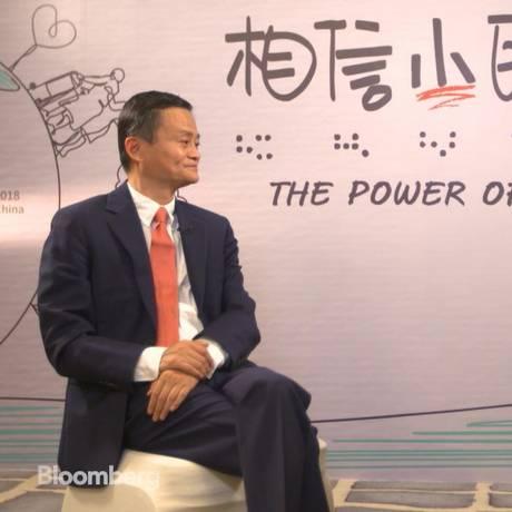 Jack Ma, presidente da Alibaba, em entrevista à TV Bloomberg News Foto: Bloomberg News