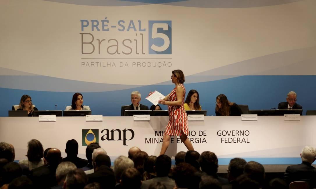 5ª Rodada de Partilha da Produção do Pré-sal, realizada pela ANP em um hotel no Rio Foto: Gabriel de Paiva / Agência O Globo