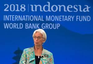 Diretora-gerente do FMI, Christine Lagarde Foto: ANDREW CABALLERO-REYNOLDS / AFP