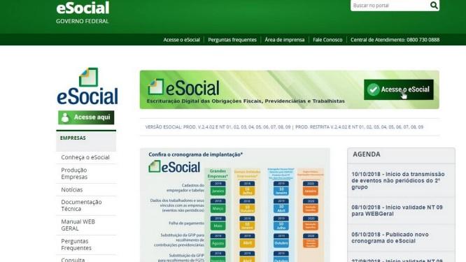 Portal do eSocial Foto: Reprodução