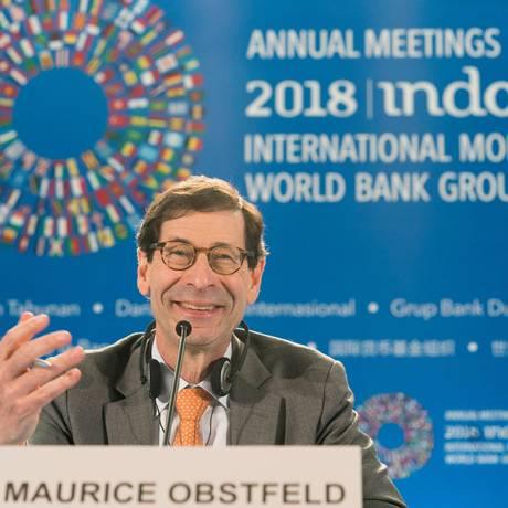 Economista-chefe do FMI, Maurice Obstfeld, durante reunião do Fundo em Bali, na Indonésia Foto: STEPHEN JAFFE / AFP