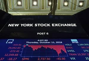 Painel mostra o desempenho da Bolsa de Nova York Foto: Drew Angerer / AFP
