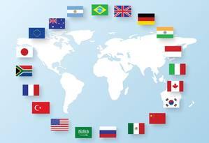 Bandeiras dos países integrantes do G-20 Foto: Reprodução
