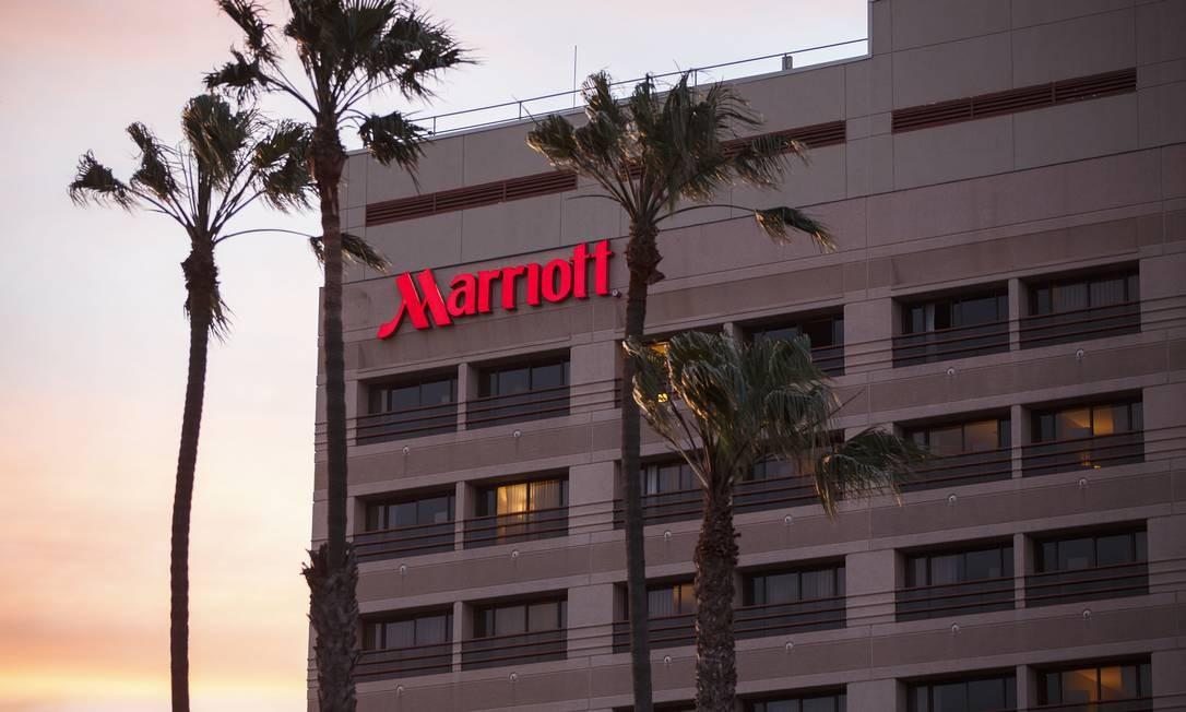 Fachada de um dos hotéis da rede Marriott na Califórnia Foto: Patrick T. Fallon / Bloomberg