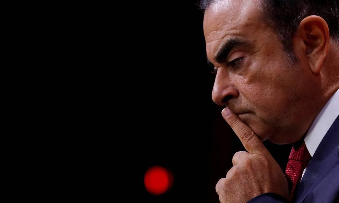 Ghosn articulava uma maior integração da montadora com a japonesa Mitsubishi e com a francesa Renault. Ele alega que sua prisão é um complô para barrar o aprofundamento da aliança Foto: PHILIPPE WOJAZER / REUTERS
