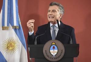 Presidente argentino, Mauricio Macri, chega ao Brasil nesta quarta-feira Foto: EITAN ABRAMOVICH / AFP
