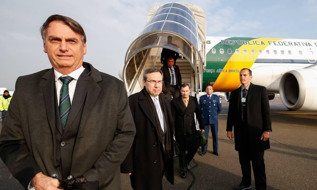 O presidente Jair Bolsonaro desembarca na Suíça para participar do Fórum Econômico Mundial Foto: Alan Santos/Presidência da República/21-1-2019 / Agência O Globo