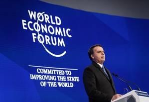 Bolsonaro discursa no Fórum Econômico Mundial, em Davos Foto: FABRICE COFFRINI / AFP