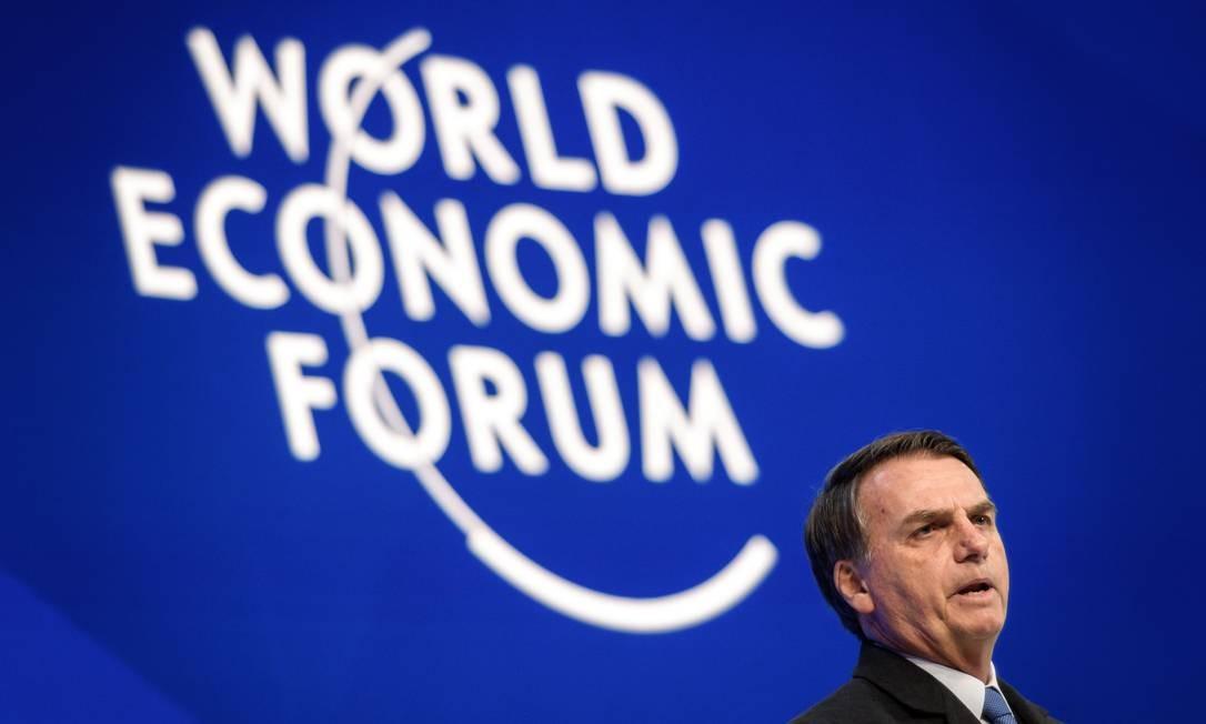 O presidente Jair Bolsonaro em sua primeira participação no Fórum Econômico Mundial, em Davos Foto: FABRICE COFFRINI / AFP