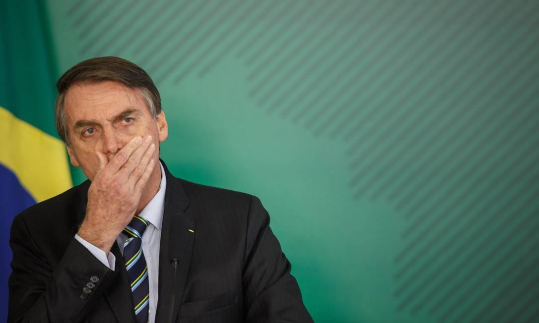 PesidenteJair Bolsonaro no Palácio do Planalto na tarde desta quinta-feira Foto: Daniel Marenco / Agência O Globo