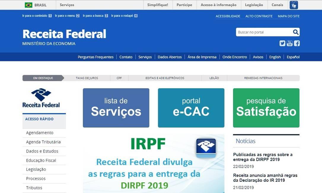 Página da Receita Federal. Reprodução Foto: Agência O Globo