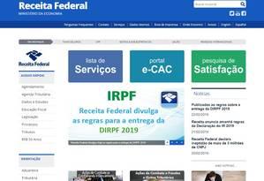Página da Receita Federal Foto: Reprodução