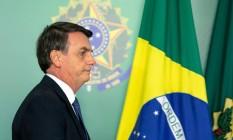 Presidente Jair Bolsonaro durante solenidade no Planalto Foto: SERGIO LIMA / AFP