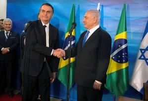 Primeiro-ministro israelense,Benjamin Netanyahu, e o presidente Jair Bolsonaro se reúnem em Jerusalém Foto: POOL / REUTERS