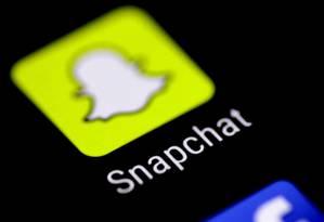 O aplicativo de mensagens Snapchat em uma tela de celular Foto: Thomas White / Agência O Globo