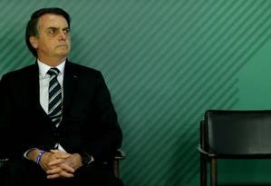 Presidente Jair Bolsonaro em solenidade no Palácio do Planalto Foto: Jorge William / Agência O Globo