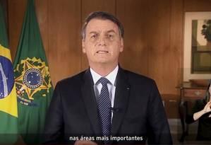 Pronunciamento do presidente Jair Bolsonaro sobre a reforma da Previdência Foto: Reprodução / Reprodução