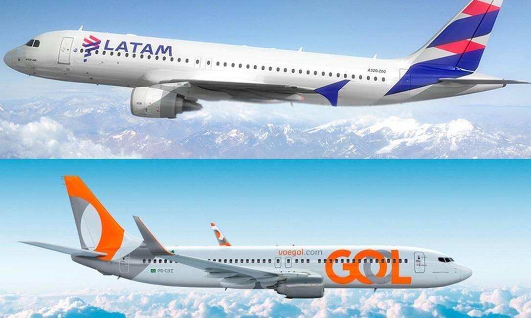Aviões da Latam e Gol Foto: Reprodução