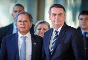 Jair Bolsonaro se reúne com Paulo Guedes no Ministério da Economia Foto: Daniel Marenco / Agência O Globo