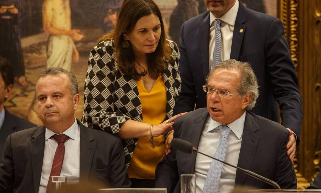 Paulo Guedes, ministro da Economia, durante audiencia publica na comissao especial da Câmara para debater a reforma da Previdência Foto: Daniel Marenco / Agência O Globo