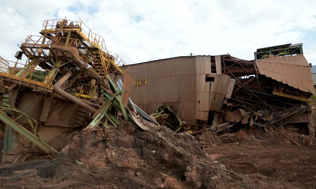 Estruturas da Vale destruídas após o rompimento da barragem em Brumadinho, em Minas Gerais Foto: Washington Alves / Reuters