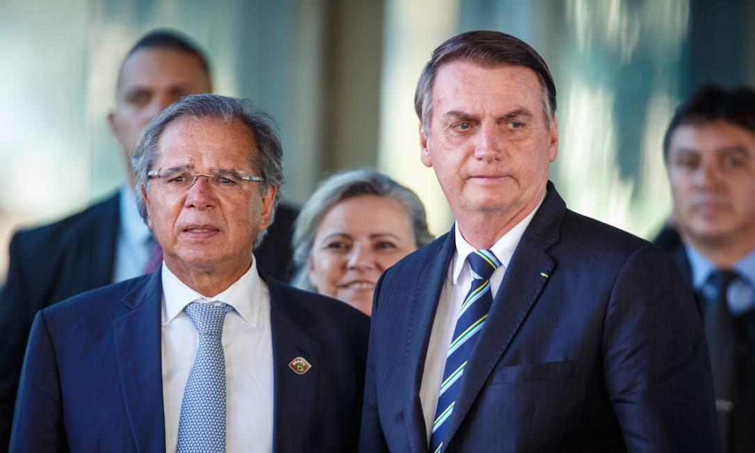 Bolsonaro elogia Guedes Foto: Daniel Marenco / Agência O Globo