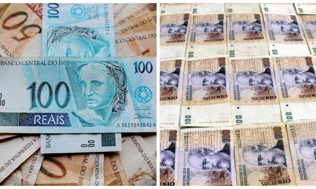 Montagem de notas de real e de peso Foto: Montagem
