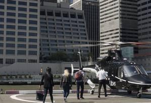 Na imagem, o Uber Copter que transportará passageiros do aeroporto JFK para o centro de Manhattan Foto: Becky Katz Davis / AFP