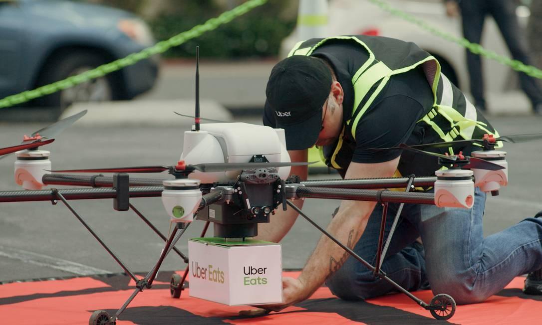 Drones que serão usados pelo Uber Eats para entrega de encomendas Foto: Divulgação