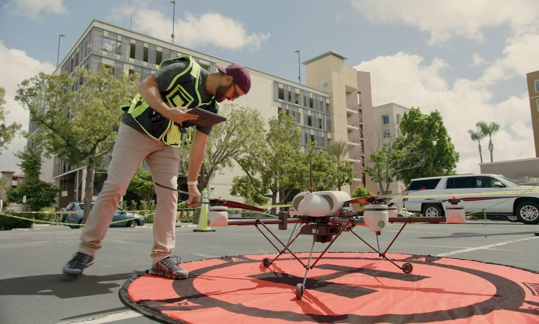 Plataforma de lançamento de drones para o serviço de entregas do Uber Eats Foto: Divulgação