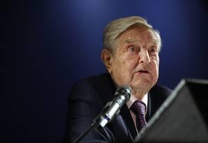 George Soros, bilionário americano, fala em evento no Fórum Econômico Mundial, em Davos Foto: Simon Dawson / Bloomberg