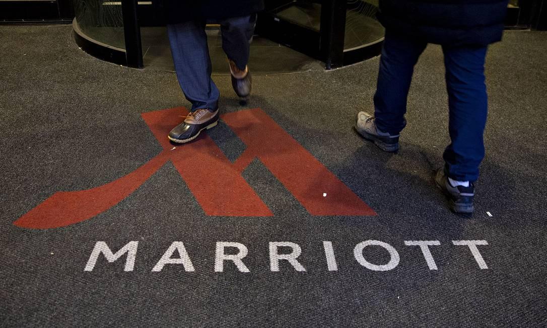 Logo do Marriott na entrada de um hotel do grupo em Chicago Foto: Daniel Acker / Bloomberg