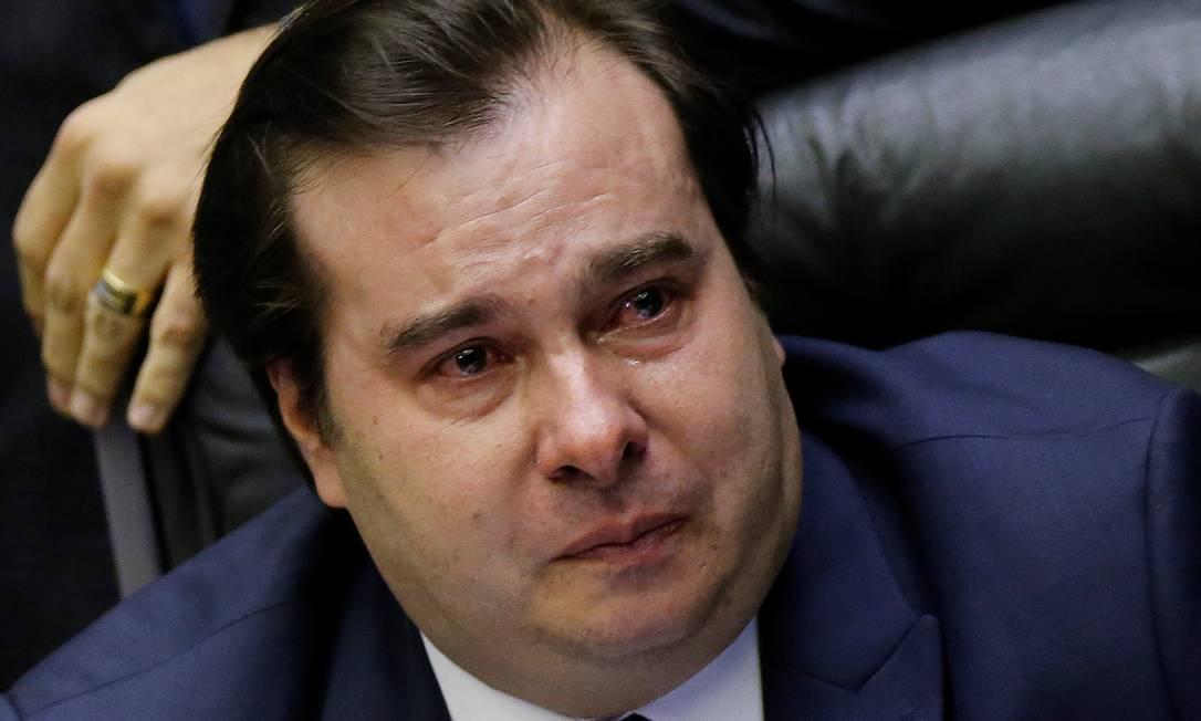 Presidente da Câmara, Rodrigo Maia, chora durante a sessão de votação da reforma da Previdência em 1º turno Foto: Adriano Machado / Reuters