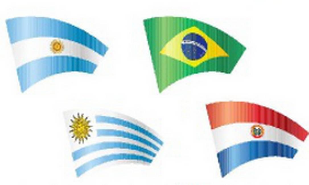 Países membros do Mercosul: Argentina, Brasil, Uruguai e Paraguai Foto: Reprodução